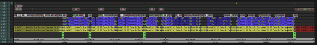 Avid Media Composer Edit timeline (Editline) of a corporate promotional event film