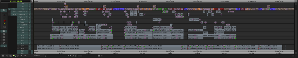 Avid Media Composer edit timeline of drama film edited by Mick Walker